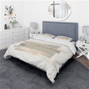 DesignArt 3-Piece Brown Geometric Queen Duvet Bedding Set