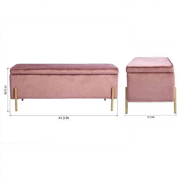 Ottoman moderne rectangulaire Tudor en velours rose avec rangement intégré par FurnitureR