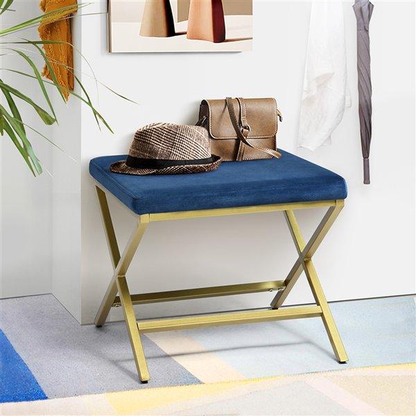 Ottoman moderne carré Spell en velours bleu par FurnitureR
