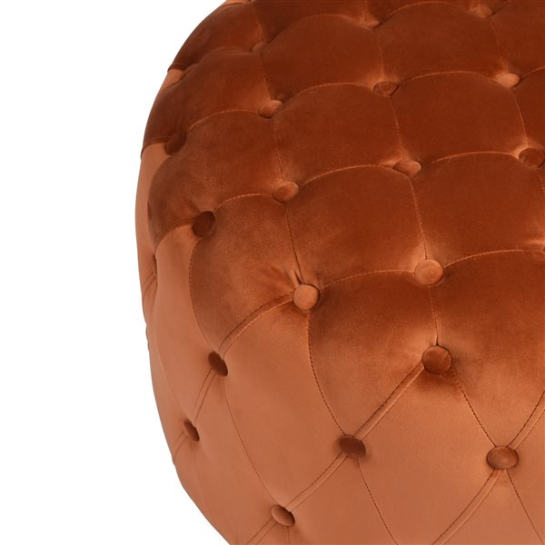 Ottoman moderne rond Miya en velours vert par FurnitureR