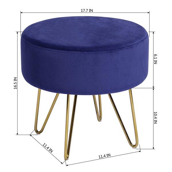 Ottoman moderne rond Saka en velours bleu foncé par FurnitureR