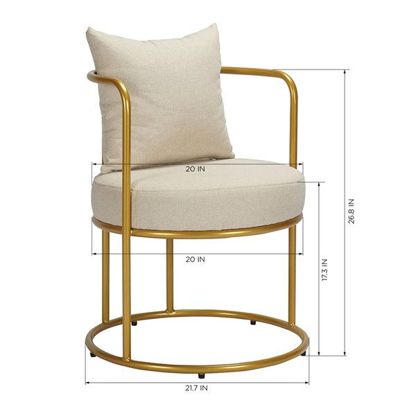 Fauteuil d'appoint moderne en polyester/mélange de polyester Kanter de FurnitureR, beige
