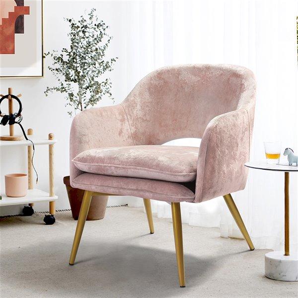 Fauteuil d'appoint moderne en polyester/mélange de polyester Lindsay de FurnitureR, rose