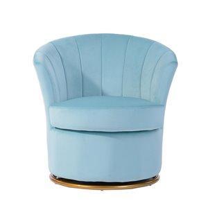 FurnitureR Peony Modern Blue Velvet Accent Chair