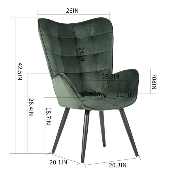 Fauteuil d'appoint moderne en velours Funkel de FurnitureR, vert