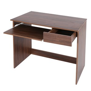FurnitureR Tik 31.5-in Walnut Modern/contemporary Writing Desk With Drawer And Keyboard Tray