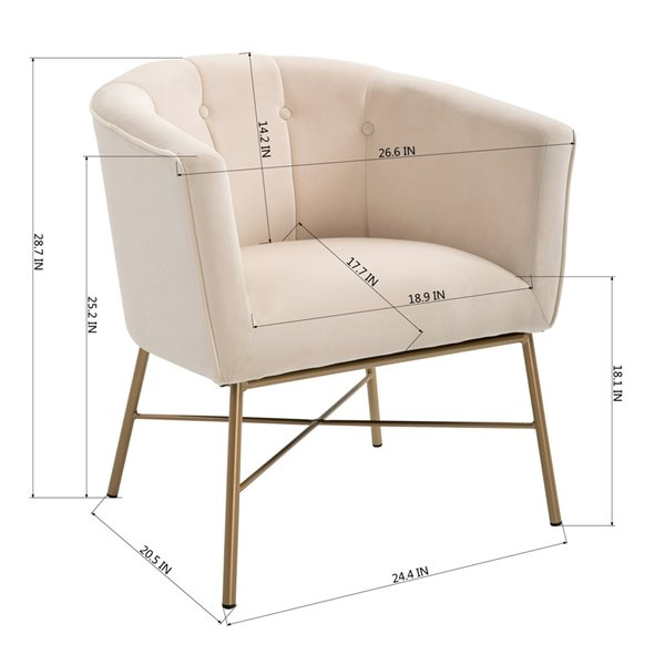 Fauteuil d'appoint moderne en velours Falette de FurnitureR, beige