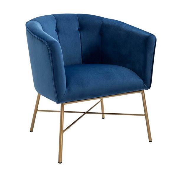 Fauteuil d'appoint moderne en velours Falette de FurnitureR, bleu