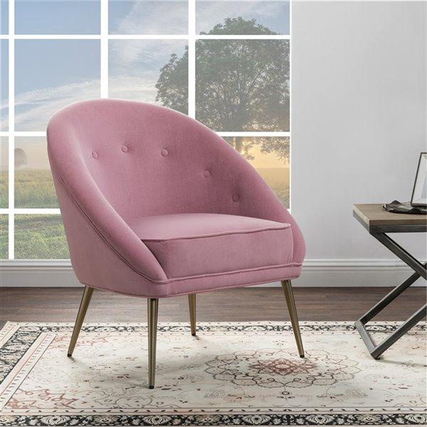 Fauteuil d'appoint moderne en velours Contento de FurnitureR, rose