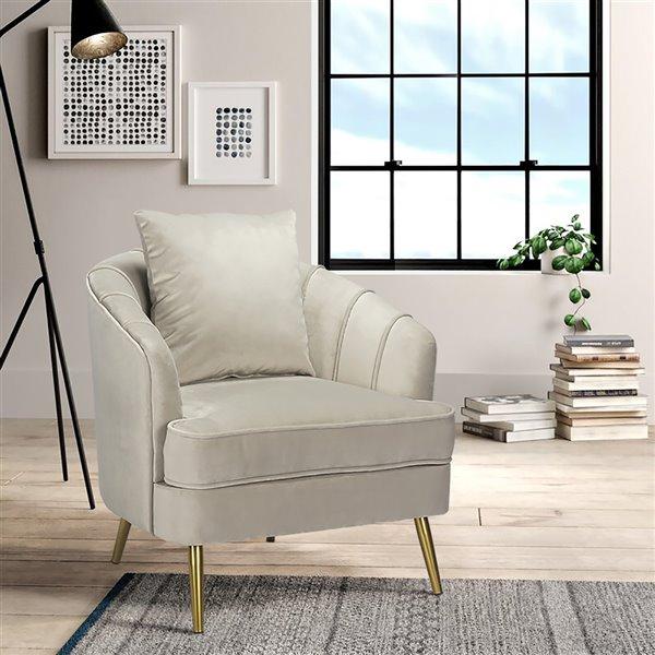 Fauteuil d'appoint moderne en polyester/mélange de polyester Tacko de FurnitureR, gris