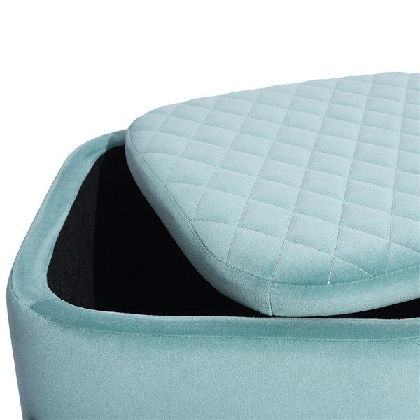 Ottoman moderne carré Bottega en velours bleu pâle avec rangement intégré par FurnitureR