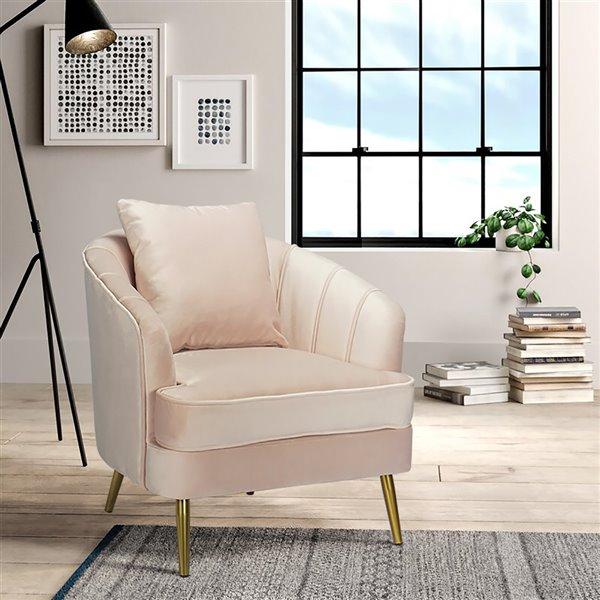 Fauteuil d'appoint moderne en polyester/mélange de polyester Tacko de FurnitureR, gris pâle rosé