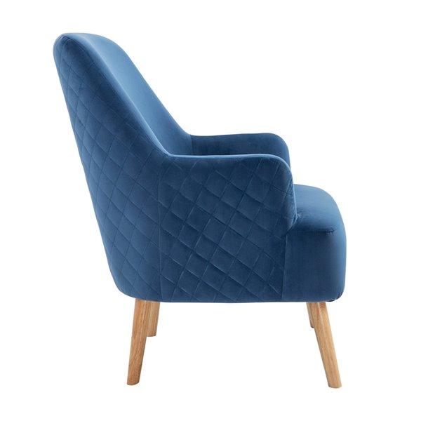 Fauteuil d'appoint moderne en velours Hutter de FurnitureR, bleu