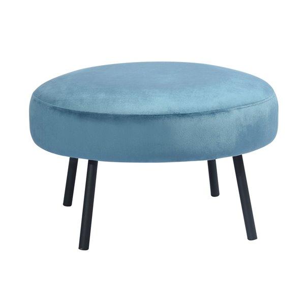 Ottoman moderne rond Nickeil en velours bleu pâle par FurnitureR