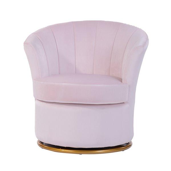 Fauteuil d'appoint moderne en velours Peony de FurnitureR, rose