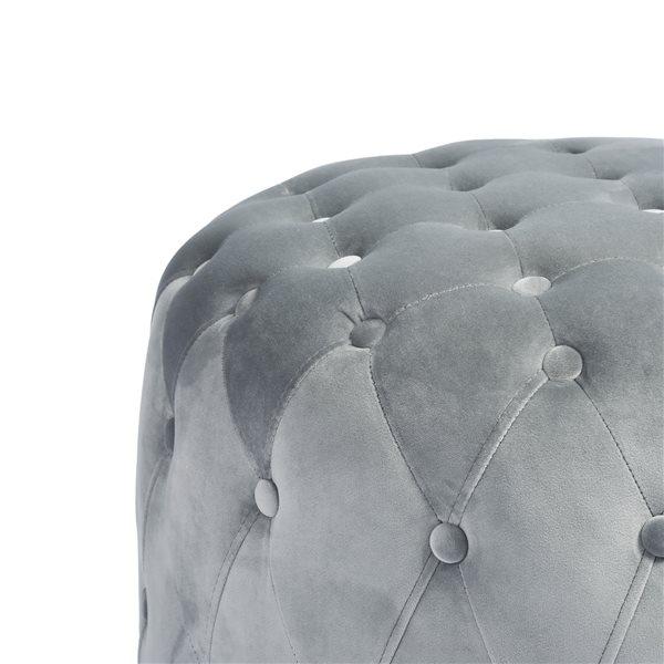 Ottoman moderne rond Miya en velours gris par FurnitureR