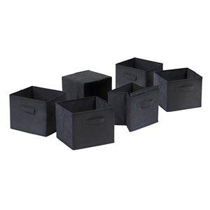 Ensemble de 6 paniers en tissu noir pliable Capri de Winsome Wood
