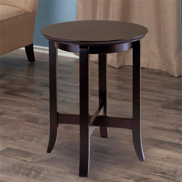 Table d'appoint en bois noir espresso Toby, rond, par Winsome Wood