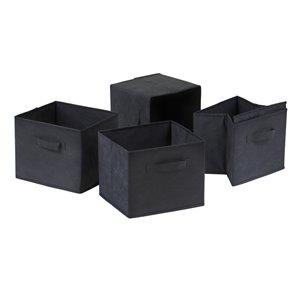 Ensemble de 4 paniers en tissu noir pliable Capri de Winsome Wood
