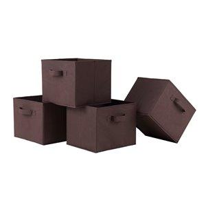 Ensemble de 4 paniers Capri en tissu chocolat pliable de Winsome Wood