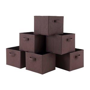 Ensemble de 6 paniers Capri en tissu chocolat pliable de Winsome Wood