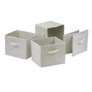 Ensemble de 4 paniers Capri en tissu beige pliable de Winsome Wood
