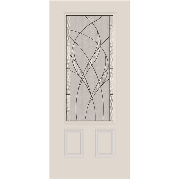 Waterside Low-E Argon Glass with Black Chrome Caming 22-in x 48-in x 1-in Door Glass