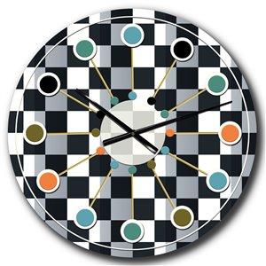DesignArt 23-in x 23-in Geometric Monochrome Pattern I Mid-Century Analog Round Wall Clock