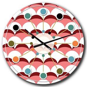 DesignArt 23-in x 23-in Geometrical Retro Design V Mid-Century Analog Round Wall Clock