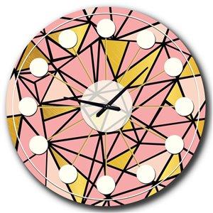 DesignArt 36-in x 36-in Triangular Gold Design II Mid-Century Analog Round Wall Clock