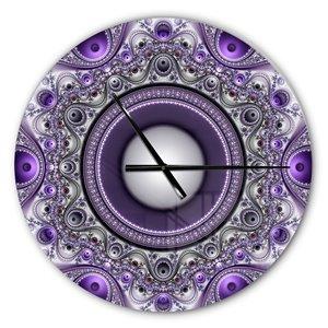 DesignArt Purple Fractal Pattern With Circles Large Analog Round Wall Standard Clock