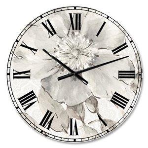 DesignArt Indigold Grey Peonies II Large Analog Round Wall Standard Clock