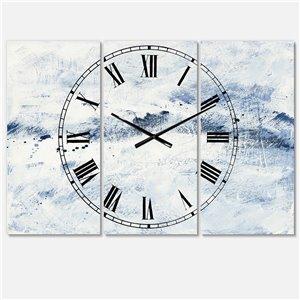 DesignArt Blue Wipe Out Farmhouse Oversized Analog Rectangular Wall Standard Clock