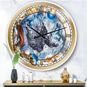 DesignArt Chalcedony Quartz Gold And Blue II Large Analog Round Wall Standard Clock