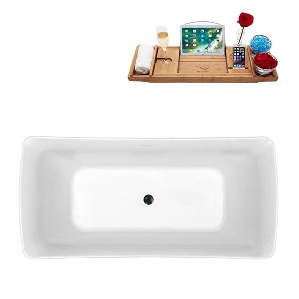Baignoire autoportante en acrylique ovale de Streamline et plateau/drain central, 29,5 po x 62,2 po, blanc lustré