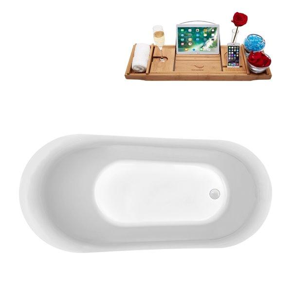 Baignoire autoportante en acrylique ovale et drain réversible avec plateau de Streamline, 29,1 po x 59,1 po, blanc brillant