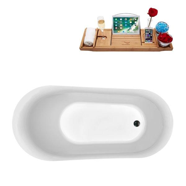 Baignoire autoportante ovale en acrylique avec drain réversible et plateau de Streamline, 29,1 po x 59,1 po, blanc brillant