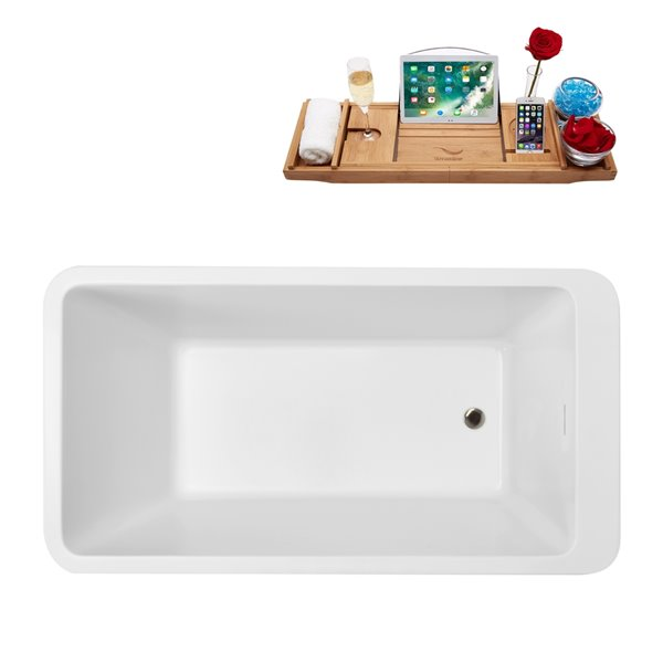 Baignoire autoportante en acrylique ovale avec drain réversible et plateau par Streamline, 32 po x 60 po, blanc brillant