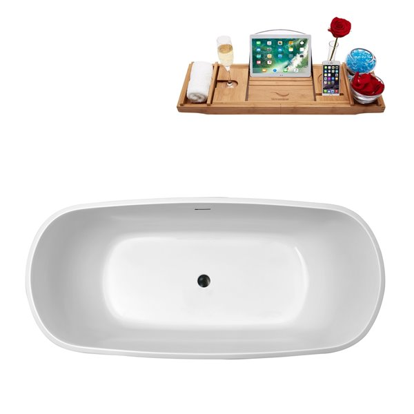 Baignoire autoportante ovale en acrylique de Streamline avec drain central/plateau, 28,3 po x 59,1 po, blanc brillant