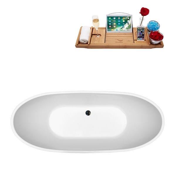 Baignoire autoportante ovale en acrylique avec plateau et drain central de Streamline, 28,3 po x 62,2 po, blanc brillant