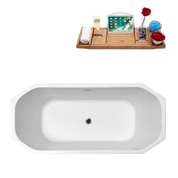 Baignoire autoportante en acrylique ovale de Streamline et drain central/plateau, 28,7 po x 63 po, blanc brillant