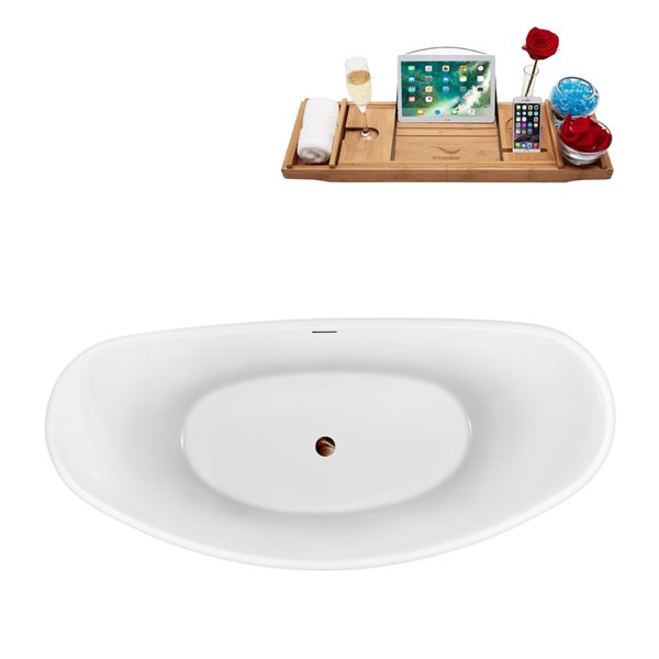 Baignoire autoportante en acrylique ovale avec drain central et plateau de Streamline, 29,9 po x 63 po, blanc lustré