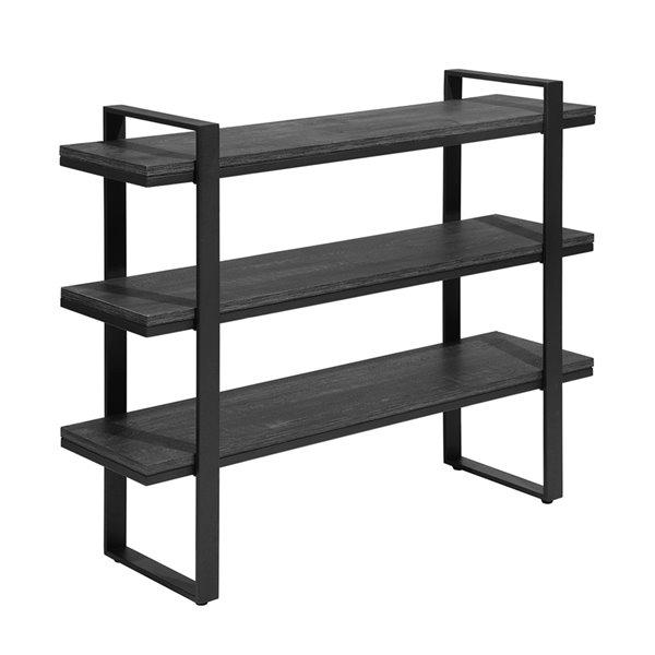 Table console Kaptoum moderne en bois avec étagères de rangement à 3 niveaux, noir, de FurnitureR