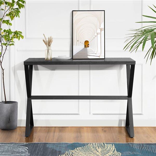 Table console Carvalho moderne en bois de 43,3 po avec pieds en X en métal, noir, de FurnitureR