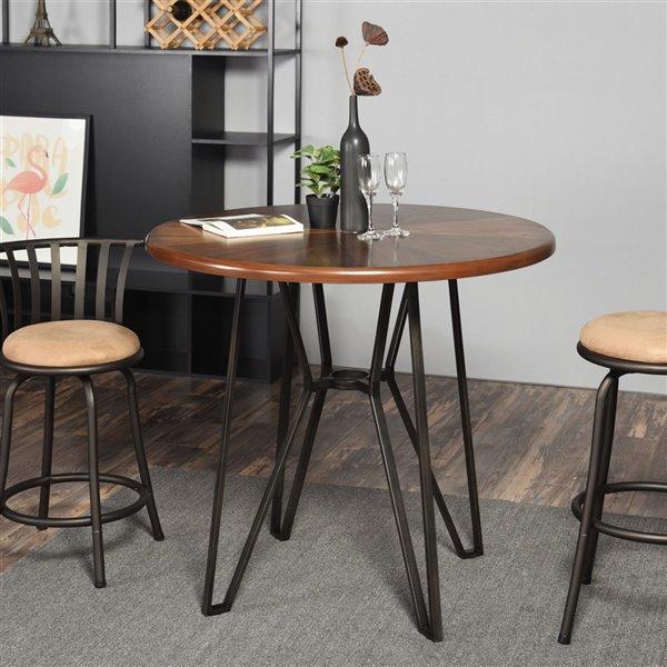 Table de bar en bois brun Irizo 40 po x 36 po de FurnitureR