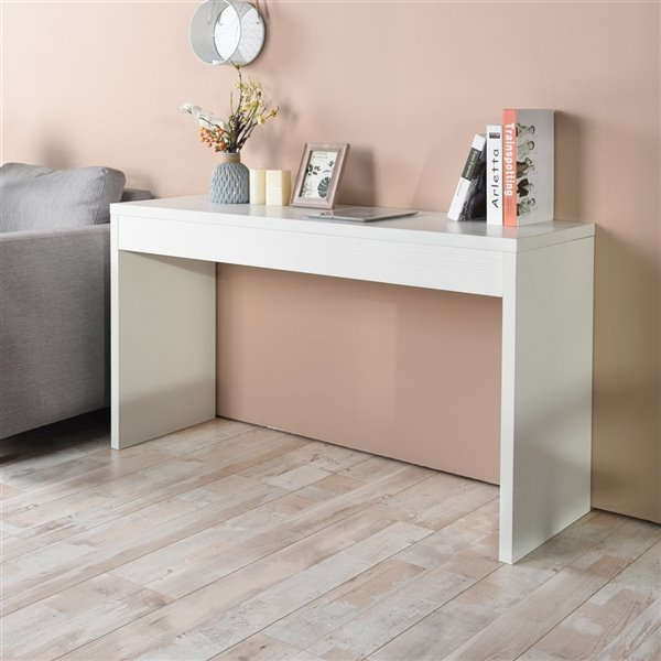 Table console Ounas moderne en bois 48 po, blanc, de FurnitureR