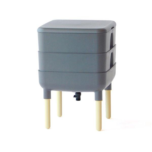 Composteur à vers de 22,7 L (6 gallon), gris, de FCMP Outdoor