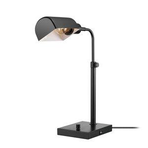 Lampe de bureau standard Lucca de Globe Electric réglable, noire mate de 18 po, interrupteur marche/arrêt (abat-jour en métal