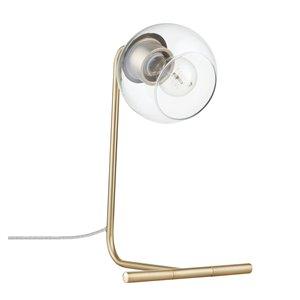 Novogratz X Globe Electric Mason 15-in Matte Gold In-line Standard Desk Lamp with Glass Shade