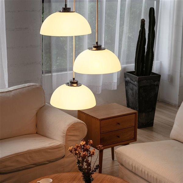 Luminaire suspendu Tribeca de Novogratz X Globe Electric, mat blanc moderne/contemporain, abat-jour standard moyen (10-22 po)